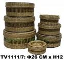 Шкатулки соломенные круглые набор 7 в 1 (синий) TV1111/7-N