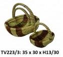 Корзинка ротанговая овальная 3в1 (белый и коричневый) TV223/3-N